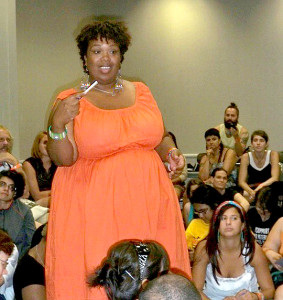 Anasa Troutman teaching a workshop